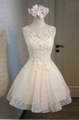 Cute A Line Lace Appliques Scoop Lace up Sequins Knee Length Homecoming Dresses uk PH965