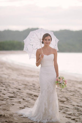 Subtle Sweetheart Strapless Lace Mermaid White Sleeveless Tulle Beach Wedding Dresses PH278