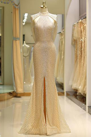 Mermaid High Neck Floor Length Split Gold Prom Dresses uk with Sequins Beading PW79