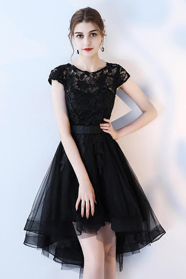 A Line Black High Low Scoop Cap Sleeve Tulle Homecoming Dresses with Lace, Prom Dress PW854