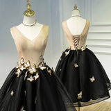 A Line Black V Neck Lace up Homecoming Dresses, Sleeveless Prom Dress With Butterfly H1136