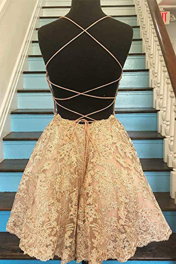 A Line Blue Lace Appliques Homecoming Dresses Backless Above Knee Short Prom Dresses H1138