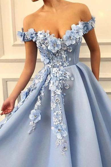 A Line Blue Off the Shoulder Tulle Lace Sweetheart 3D Flowers Prom Dresses,Formal Dress PW464
