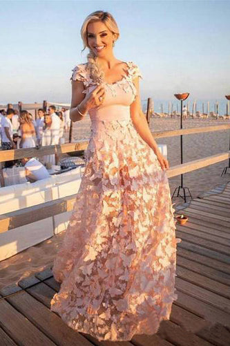 A Line Blush Pink 3D Butterfly Sweetheart Lace Long Prom Dresses with Cap Sleeve PW451