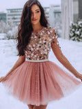 A Line Blush Pink Long Sleeve Homecoming Dresses 3D Flowers Beaded Short Prom Dresses H1140