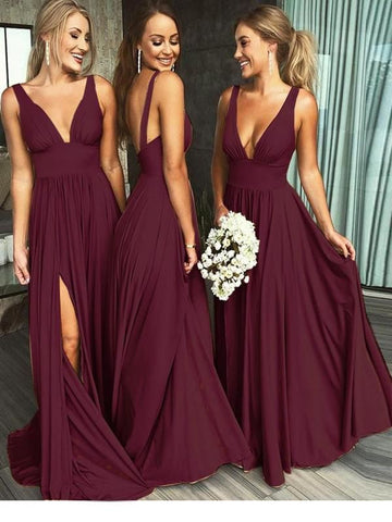 products/A_Line_Burgundy_V_Neck_Ruffles_Slit_Bridesmaid_Dresses_Long_Cheap_Prom_Dresses_PW585-1.jpg
