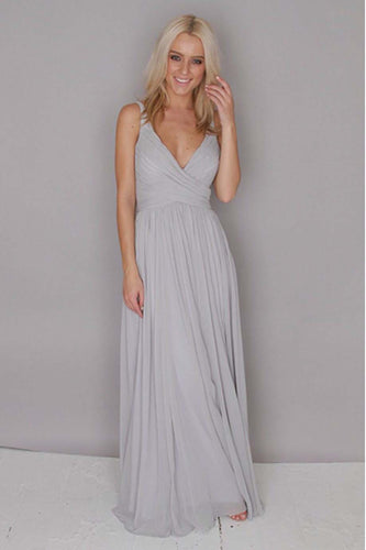 A Line Chiffon Grey Floor Length V Neck Ruffles Bridesmaid Dress, Long Prom Dresses PW397