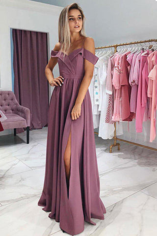 A Line Chiffon Off the Shoulder Prom Dresses, Purple Side Slit Evening Dresses PW733