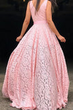 A Line Deep V Neck Pink Lace Sleeveless Prom Dresses Long Party Dance Dresses P1113