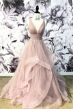 A Line Deep V Neck Ruffles Prom Dresses Long Open Back Cheap Party Dresses PW604