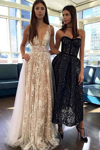 A Line Deep V Neck Sleeveless Tulle Prom Dresses, Long Formal Dresses PW376