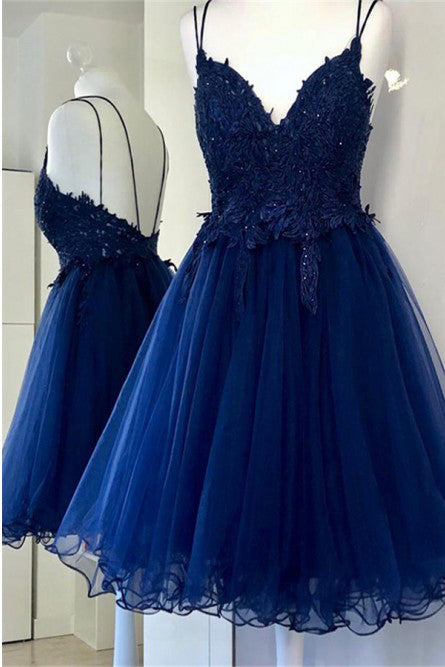 A Line Dual-Strapped Royal Blue V Neck Short Prom Dress with Beads Appliques PW858