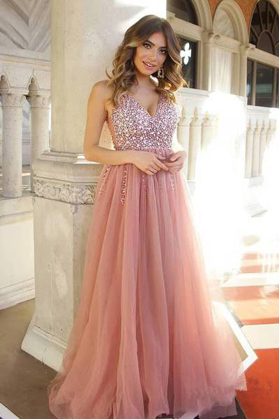 A Line Dusty Rose Long Tulle Prom Dresses, Sequins Shiny Bodice V Neck Formal Dress PW425