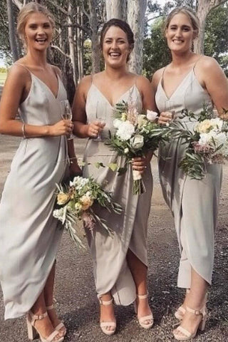 A Line Gray Spaghetti Straps V Neck Middle Slit Prom Dresses, Bridesmaid Dresses PW912