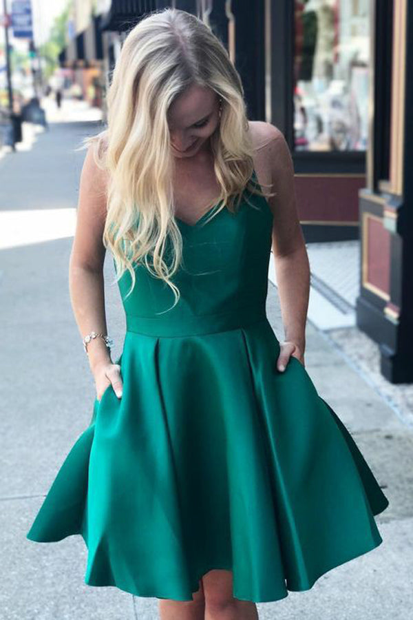 A Line Green Spaghetti Straps V Neck Satin Open Back Homecoming Dresses with Pockets H1299