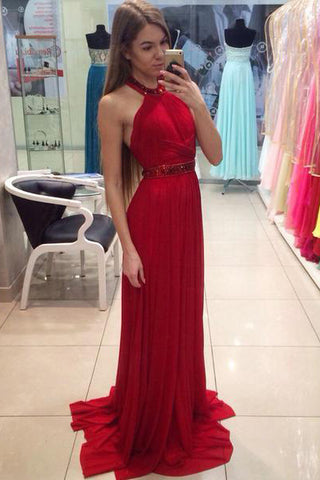 A Line Halter Red Chiffon Long Prom Dresses with Beading, Cheap Evening Dresses PW702