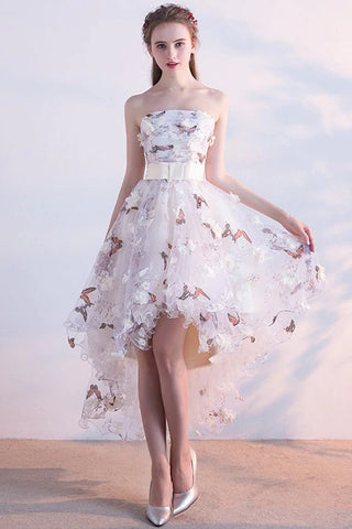 A Line High Low Straps Lace up Tulle Flower Homecoming Dresses Short Prom Dresses PW967