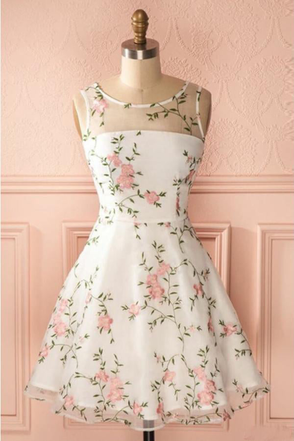 A Line Ivory Round Neck Homecoming Dress with Lace, Short Lace Prom Dresses PW842