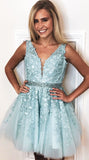 A Line Ivory V Neck Beads Straps Homecoming Dresses with Lace Appliques, Short Party Dress H1146