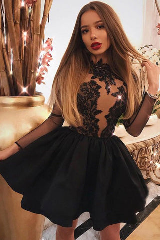 A Line Jewel Long Sleeve Black Above Knee Homecoming Dress with Appliques PW890