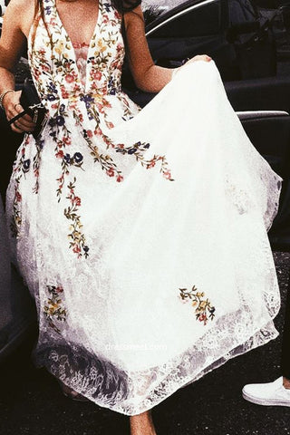 A Line Lace Floral Printed V Neck Appliques White Prom Dresses PW575