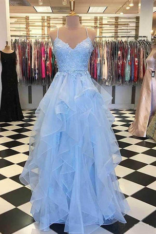 A Line Light Blue Spaghetti Straps Prom Dresses Sweetheart Long Evening Dresses PW606