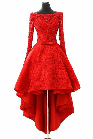 A Line Long Sleeve Red High Low Scoop Lace Homecoming Dresses with Lace Appliques PW835