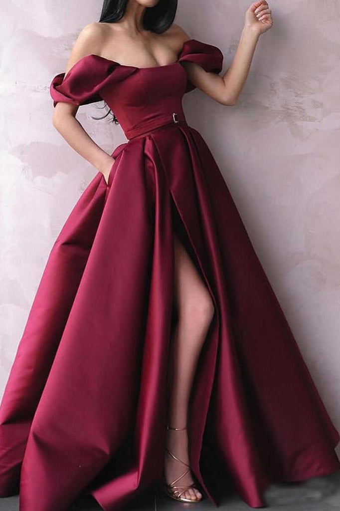 A Line Off the Shoulder Burgundy Satin Prom Dresses with Pockets High Split PW801