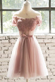 A Line Off the Shoulder Pink Lace Appliques Homecoming Dresses with Tulle, Short Dress H1001
