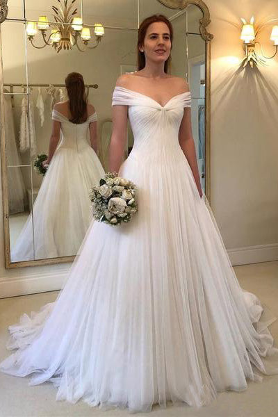 where can i buy wholesale buy good A Line Off the Shoulder Simple Sweetheart Ivory Beach Wedding Dresses  Bridal Gown PW447