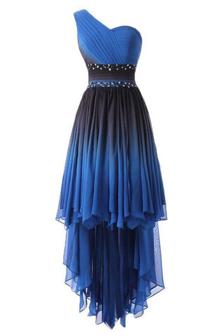 A Line One Shoulder Ombre Chiffon Blue Ruffles Prom Dresses, Homecoming Dresses PW875