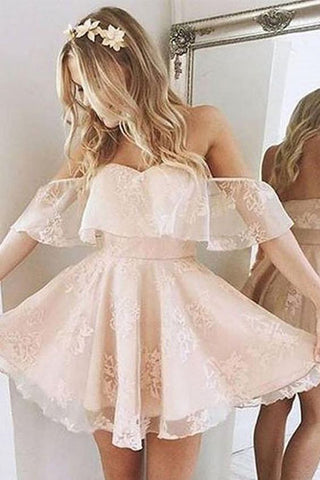 A Line Pink Off the Shoulder Sweetheart Tulle Above Knee Homecoming Dresses with Flowers H1076