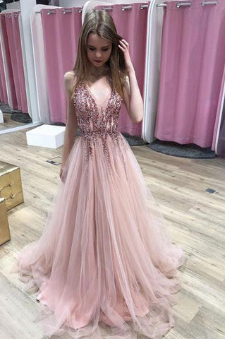 cd09c0b0a5b A Line Pink V Neck Tulle Sequin Beads Long Prom Dress