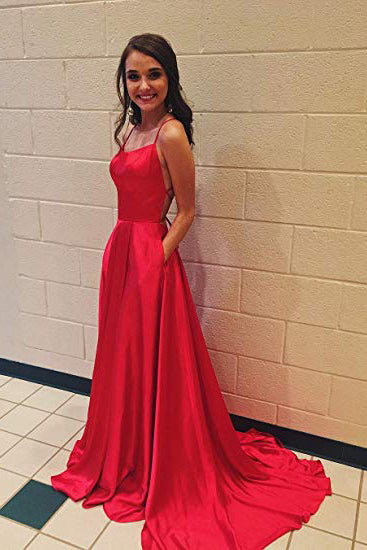 A Line Red Spaghetti Straps Open Back Prom Dresses with Slit Pockets PW686