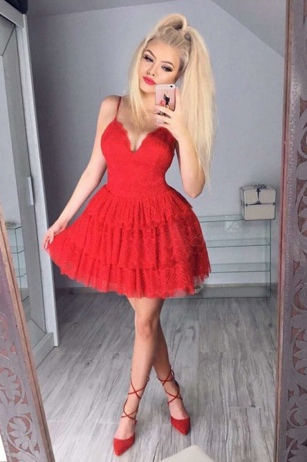 A Line Red V Neck Spaghetti Straps Homecoming Dresses with Lace, Short Prom Dresses PW861