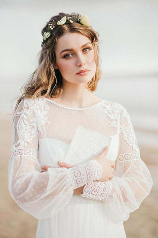 A Line See Through Long Sleeve Lace Appliqued Ivory Beach Wedding Dresses uk PW382