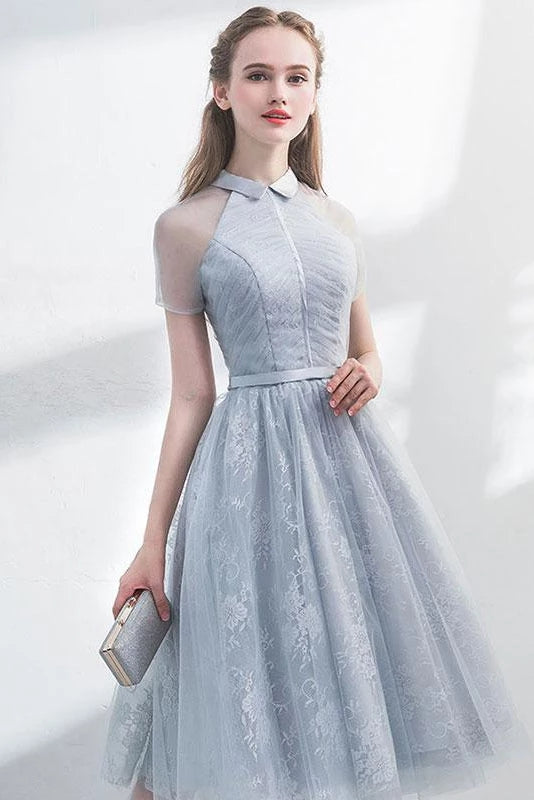 A Line Short Sleeves Tulle Halter Homecoming Dress with Lace, Cute Short Prom Dress H1284
