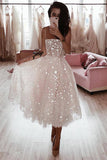 A Line Spaghetti Strap Tea Length Pearl Pink Tulle Prom Homecoming Dress With Beads PW760