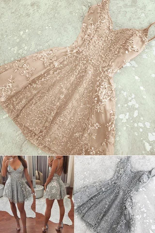 A Line Spaghetti Strap V Neck Lace Silver Homecoming Dresses, Mini Short Prom Dresses H1313