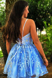 A Line Spaghetti Straps Blue Homecoming Dresses with Appliques V Neck Short Prom Dress H1285