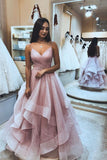A Line Spaghetti Straps Pink V Neck Backless Prom Dresses, Long Evening Dresses PW804