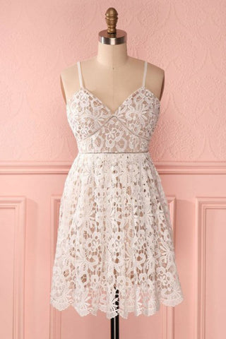 A Line Spaghetti Straps Short Lace Ivory V Neck Homecoming Dress, Short Prom Dresses PW857