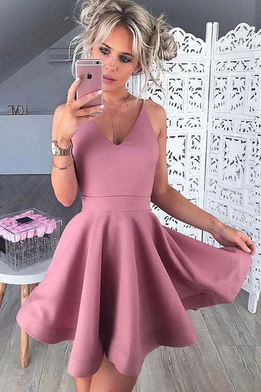 A Line Spaghetti Straps V Neck Blush Homecoming Dresses Satin Formal Dresses H1305