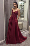 A Line Spaghetti Straps V Neck Burgundy Prom Dresses With Pockets, Evening Dress PW467