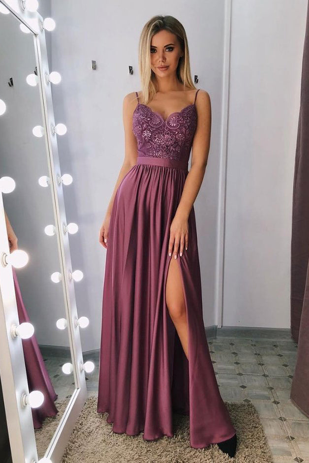 A Line Spaghetti Straps V Neck Purple Lace Side Slit Prom Dresses, Party Dresses P1002