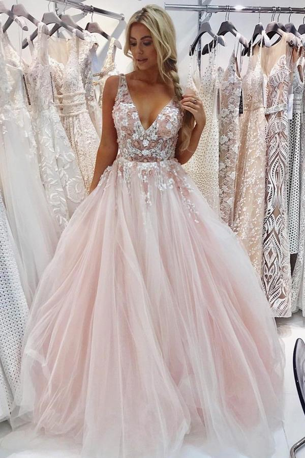 A Line Tulle V Neck Prom Dresses Beads Pink Lace Appliques Backless Evening Dresses PW533