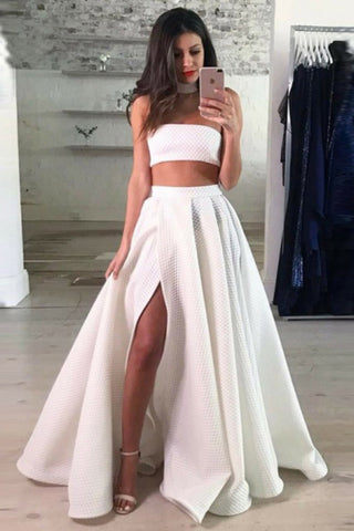 A Line Two Piece Lace White Prom Dresses High Slit Long Cheap Evening Dresses PW670
