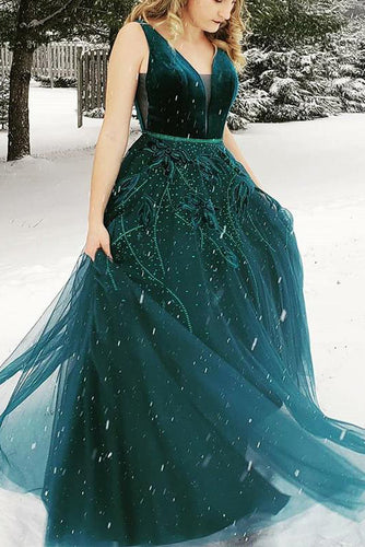 A Line V-Neck Backless Green Prom Dress With Appliques Beading Evening Gown PW458