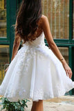 A Line V Neck Ivory Appliques Beads Homecoming Dresses Short Wedding Dresses H1348