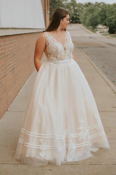 A Line V Neck Lace Bodice Prom Dresses Princess Ball Gown Backless Long Formal Dress PW441